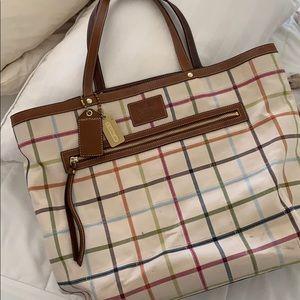 Genuine Coach Plaid Travel Bag
